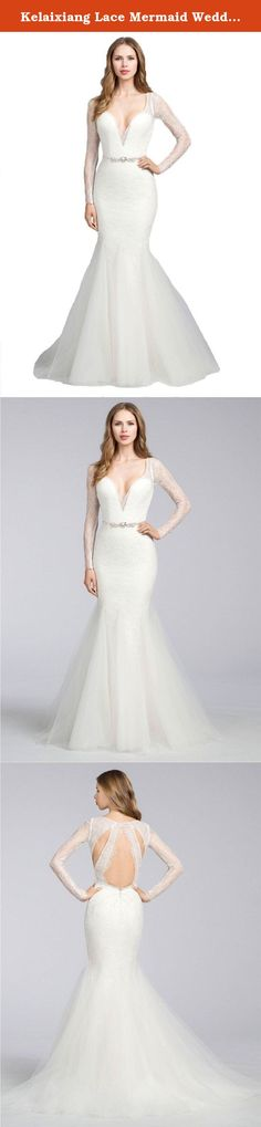 Kelaixiang Lace Mermaid Wedding Dresses with Long Sleeves Bridal Gowns White US 24W. Our company Kelaixiang are made of professional designers that have ten years experience and selection of high quality materials and fine detail processing. We strive to offer you the best product and the service. If you have any problems or doubts of our products, please feel free to contact us. We are always at your service. This is gorgeous sweep train long mermaid wedding prom dresses with see through...