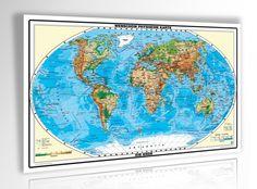 XXL/1,53 Meter - Original handgezeichnete Relief Weltkarte - antireflex-entspiegelt laminiert riesen große Poster Wandkarte, Weltkarte, Großformat: Amazon.de: geosmile: Bücher