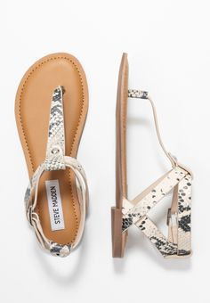 Steve Madden HIDDEN - T-bar sandals - natural for with free delivery at Zalando Steve Madden, Even And Odd, Stevia, Pearl White, Black Sandals, My Wardrobe, Birkenstock, Taupe, Bar
