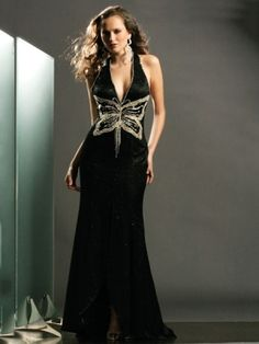 Black Tie Black Long/Floor-length Satin Backless Prom Dress PD0A16