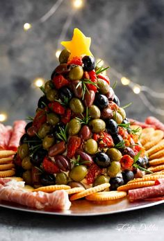 Antipasto Cheese Ball Christmas Tree   cafedelites.com