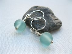 Pale Blue/Green Seaglass Lampwork Sterling by blossomingsilver, £35.00