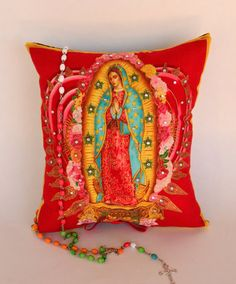Virgen de Guadalupe Floral Pillow   Mother of by OliviabyDesign, $26.00