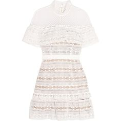 Self-Portrait Ruffled guipure lace mini dress (17,670 PHP) ❤ liked on Polyvore featuring dresses, vestidos, white, white dresses, self portrait dress, lace mini dress, white ruffle dress and short white cocktail dress