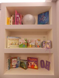 Baby Room purple and gray Olivia bookshelf