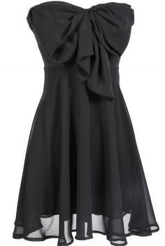 Oversized Bow Chiffon Dress in Black