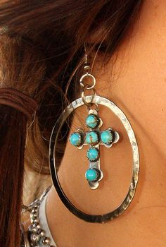 Old Mexico TUrquoise Cross hoops...YES PleaSE