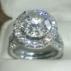 Diamond engagement ring set in 14k white gold www.gemsecrets.com