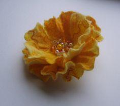 Felt brooch-Felt flower brooch-Flower brooch-Felt flower pin-Yellow brooch
