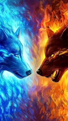 Stella & Kardia on one side Ignis & Helene on the other side Daml - Stella & Ka. Dark Fantasy Art, Fantasy Wolf, Artwork Lobo, Wolf Artwork, Tiger Artwork, Tier Wallpaper, Animal Wallpaper, Ice Wolf Wallpaper, Fire And Ice Wallpaper