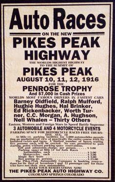 1916 Pikes Peak Hill Climb poster, flyer