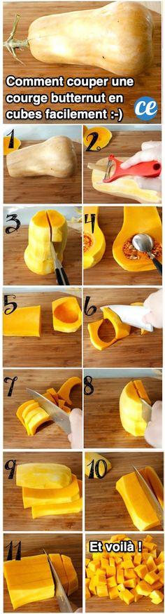 Comment couper une courge butternut ? La peau d'une courge est dure et difficile à éplucher. Heureusement, il existe une astuce de cuisine pour la découper et peler facilement et rapidement. Suivez le tuto DIY ici