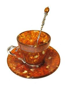 Russian amber cup and saucer