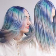 Feather hair color hair painting by Caitlin Ford blue hair pink hair color www.hotonbeauty.com