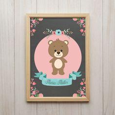 Kunstdruck DIN A4 Personalisiertes Wand Bild mit Name Teddy Bär Blumen Vintage