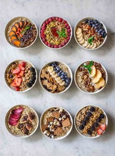 Best Oatmeal Toppings - Nine bowls of oatmeal with different toppings created from an oatmeal bar - Oats Recipes, Gourmet Recipes, Cooking Recipes, Recipes Dinner, Smoothie Recipes, Porridge Recipes, Smoothie Bar, Flour Recipes, Crockpot Recipes