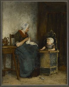 Moeder en kind, Johannes Jacobus Paling Dutch Artists, The Old Days, Mother And Child, Old Pictures, Middle Ages, Folklore, Holland, Graphic Art, Scandinavian