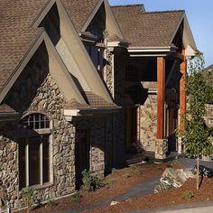 Beautiful custom home featuring our @gsharrisco Granite (Color: Summit)⠀ ⠀ -----⠀ www.KodiakMountain.com ⠀ -----⠀ #KodiakMountainStone⠀ ⠀ Granite Colors, Custom Homes, Mountain, Cabin, Stone, House Styles, Beautiful, Instagram, Home Decor