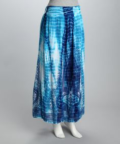 Take a look at this Blue Tie-Dye Maxi Skirt - Women by Ash & Sara on #zulily today!