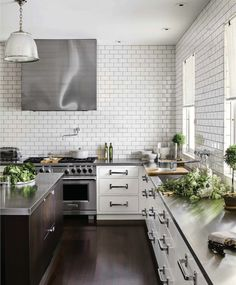 House Beautiful - kitchens - kitchen with no top cabinets, kitchen with no upper cabinets, white cabinets with stainless steel countertops, . Home Kitchens, Kitchen Remodel, Kitchen Design, Kitchen Tiles, Kitchen Countertops, Stylish Kitchen, New Kitchen, Best Kitchen Countertops, Kitchen Interior