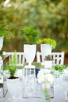 Love the idea of using succulents and bright white containers for centerpieces - I know IKEA has similar items. Cute Wedding Dress, Fall Wedding Dresses, Wedding Pics, Wedding Table, Perfect Wedding, Diy Wedding, Wedding Events, Wedding Flowers, Dream Wedding