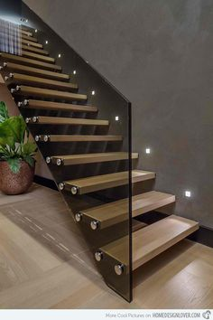Modern Staircase Design Ideas - Stairways are so typical that you do not provide a second thought. Check out best 10 examples of modern staircase that are as sensational as they are . Home Stairs Design, Railing Design, Interior Stairs, House Design, Stair Design, Villa Design, Glass Stairs Design, Staircase Design Modern, Stairs Light Design