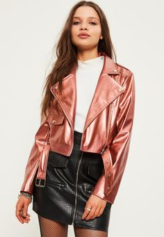 Missguided - Petite Exclusive Rose Gold Faux Leather Biker Jacket