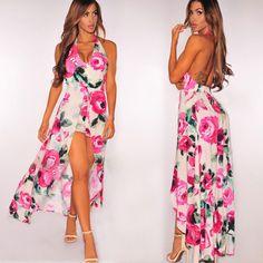 945767c47b2f Designed V Neck Blended Floral Printed Maxi-dress Maxi Dresses Backless  Dress Summer