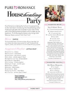 Housewarming Pure Romance Party Theme  To have your FREE a party,contact me: www.pureromance.com/katiewestervelt