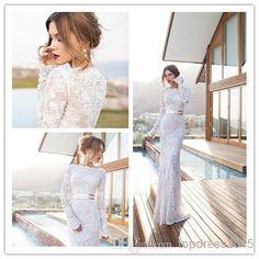 Wholesale Wedding Dresses - Buy Hot Sale Real Image White Champagne Bateau White Mermaid Wedding Dresses Lace Sheer Long Sleeve Gold Sash Floor Length Trumpet Bridal Gowns, $145.14 | DHgate