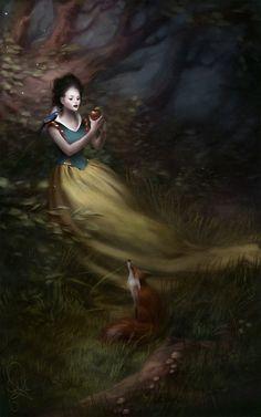 Snow white #fantasy #illustration #art #melaniedelon #snowwhite