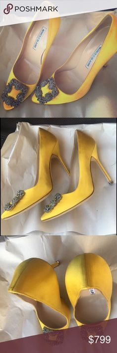 "Manolo Blahnik Hangisi satin 115mm pump yellow 38 Manolo Blahnik ""Hangisi"" satin evening pump. Size 38 in yellow retail $965+tax 4.5"" covered stiletto heel. 115mm heel, rare to find. Crystal buckle adorns pointed toe. Low-cut vamp visually lengthens leg. Topstitched collar. Leather lining and sole. Slip-on style. Made in Italy. Manolo Blahnik High Heels usually runs small. We suggest you to order a half size larger than you typically wear. New in box with dust bag.100% authentic,"