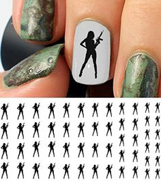 Cute Hunting Gear for Women Hunters Girl With Gun Water Slide Nail Art Decals – Salon Quality 5.5″ X 3″ Sheet!