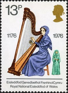 Items similar to Harp Music Royal National Eisteddfod of Wales -Handmade Framed Postage Stamp Art 14867 on Etsy Postage Stamps Uk, Uk Stamps, Kingdom Of Great Britain, Penny Black, Stamp Collecting, Mail Art, England, British, Culture