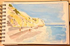 Drawing challenge, Day 29 - A place you want to go. I'll be boring, I want to go back to Skiathos, the beach at Lalaria which has the most stunning blues I have ever seen (not well caught here I'm sorry to say). I have been lucky enough to have been to a lot of places but few exert the pull of Skiathos for light, warmth, colour and that feeling that you can cope with all this has to offer and yet not want for more. I guess that is called contentedness.