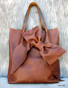Distressed Brown Leather Bow Tote Bag