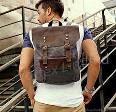 Men's Backpack Men's Canvas Leather Backpack in by VortexLimited