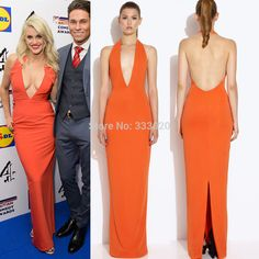 Ashley Roberts Celebrity Red Carpet Sexy Halter Backless Evening Gowns Orange Chiffon Back Slit Open Back Prom Dress