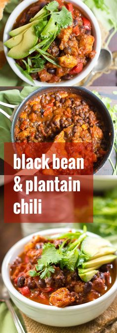 Hearty black beans and chunks of ripe plantains are simmered up in a spicy tomato base to make this knock-your-socks-off sweet and spicy plantain chili!