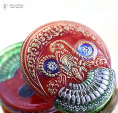 Czech Glass Button Vintage Press in Buddha by LampworkBeads, $7.95