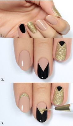 Gold and Black Nail for Wedding 2016