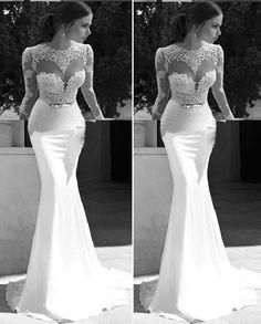 2014 See Through Muslim Lace Mermaid Long Sleeve Wedding Dress Bridal Gown Robe de Mariage