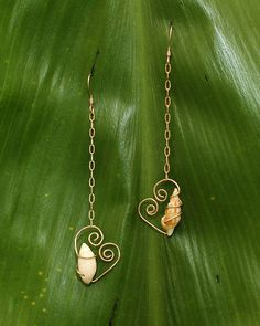Gold Filled Wire Wrapped Shell Dangles by HinasTreasures on Etsy