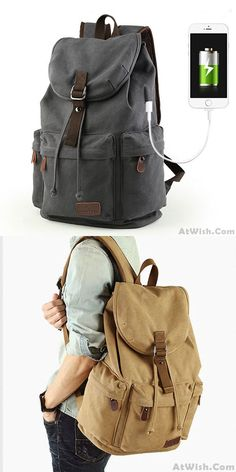 Leisure Drawstring Large Capacity Rucksack With USB Interface Flap Camping Travel Canvas Backpack for big sale! #backpack #Bag #canvas #college #student #fashion