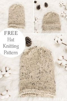 Knit Slouchy Hat Pattern, Easy Knit Hat, Knit Slippers Free Pattern, Easy Knitting, Knitted Hats, Beginner Knitting Projects, Knitting Tutorials, Yarn Projects, Designer Knitting Patterns