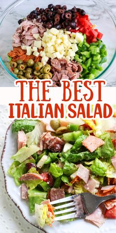 This Italian salad recipe is so quick and easy to make. It's made with delicious cured meats, olives and cheese and it is loaded with flavor! It makes an excellent meal for lunch or a tasty salad with dinner. Deli Salad Recipe, Chef Salad Recipes, Lettuce Salad Recipes, Meat Salad, Chopped Salad Recipes, Chicken Salad Recipes, Veggie Recipes, Pasta Salad, Couscous Salad