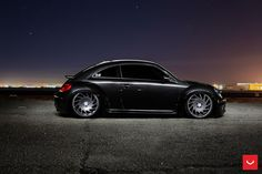 Massive VLE1 Series Vossen wheels look out of place on classy black VW Beetle