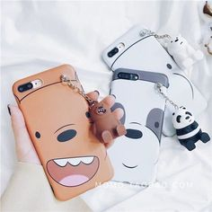 Cartoon We Bare Bears Case Metal Charms Hard Dolls Cover For Iphone 8 7Plus Xmas