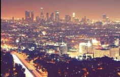 Solid-Faced Canvas Print Wall Art Print entitled Los Angeles skyline city at night. Paradise Places, Los Angeles Skyline, Chicago Wedding Venues, Affordable Wedding Venues, World Cities, Night City, Favim, City Lights, Night Lights
