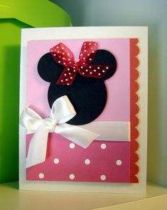 Minnie Mouse Card-Why didn't I think of actual ribbon on top Bday Cards, Kids Birthday Cards, Handmade Birthday Cards, Mickey Birthday, Disney Scrapbook, Scrapbook Cards, Punch Art Cards, Minnie Mouse Party, Mickey Mouse